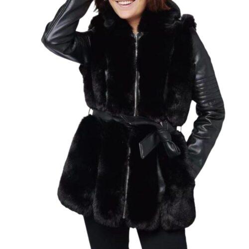 METIS GLAM Giacca lunga eco pelle ed eco pelliccia nera con cintura Abbigliamento