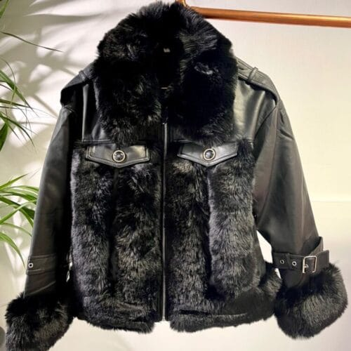 METIS GLAM Giacca ecopelle nera con ecopelliccia Abbigliamento