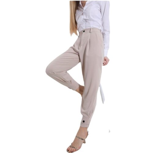 METIS GLAM Pantaloni vita alta pence beige bottone fondo Abbigliamento