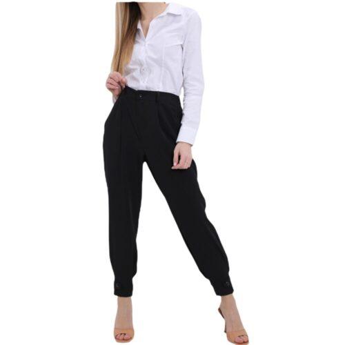 METIS GLAM Pantaloni vita alta pence nero bottone fondo Abbigliamento