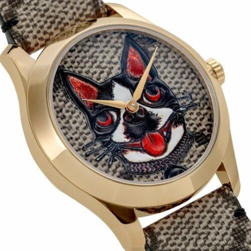 GUCCI Orologio con cinturino in pelle e motivo cane Accessori