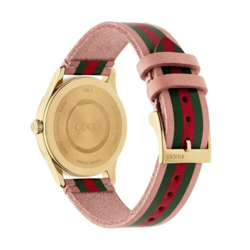 GUCCI Orologio in pelle rosa con motivo a bande rosso verde e dettagli oro Accessori
