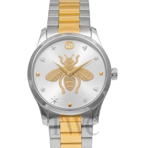 GUCCI Orologio acciaio con dettagli oro e motivo ape Accessori