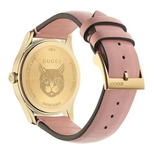 GUCCI Orologio pelle rosa e motivo felini Accessori