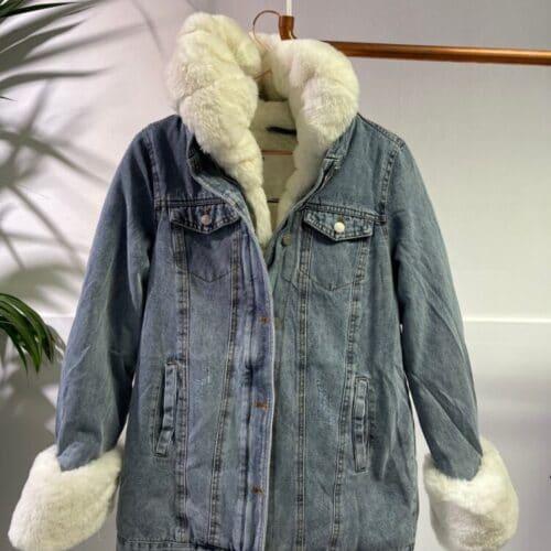 METIS GLAM Giacca in jeans con eco pelliccia bianca Abbigliamento