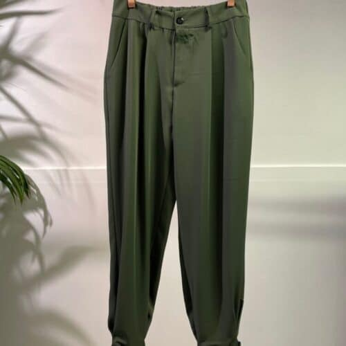 METIS GLAM Pantaloni vita alta pence verde bottone fondo Abbigliamento