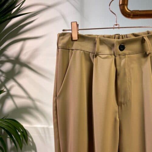 METIS GLAM Pantaloni vita alta pence cammello bottone fondo Abbigliamento