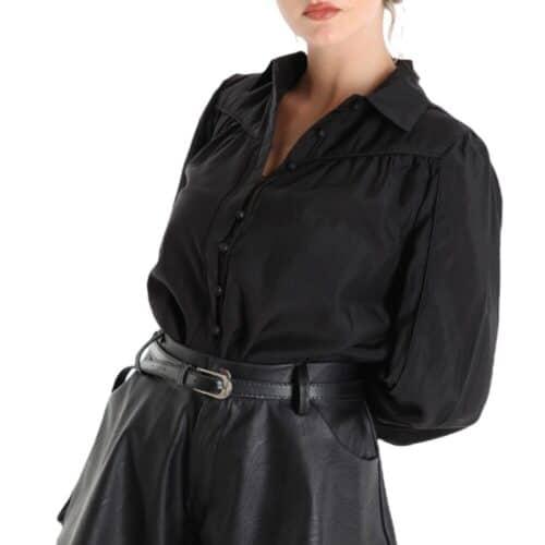 METIS GLAM Camicia nera con bottoncini Coupon