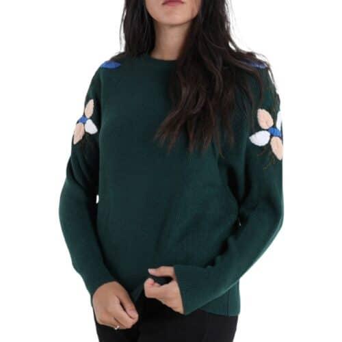 METIS GLAM Maglioncino verde scuro con ricami fiori spalla Coupon