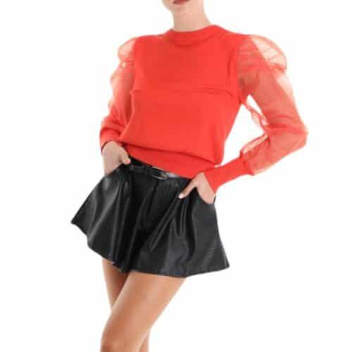 METIS GLAM Maglia color corallo con maniche in tulle Abbigliamento