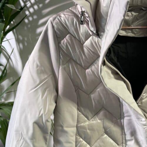 METIS GLAM Piumino grigio ghiaccio lungo trapuntato Cappotti